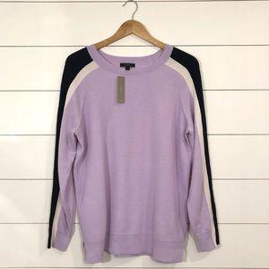 J. Crew Merino Wool Sweater Purple Navy Striped
